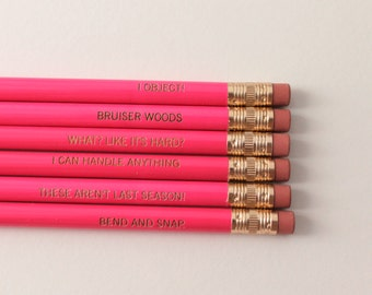 legally blonde assorted engraved pencil set 6 hot pink pencils. Pink erasers, brass ferrules. Back to school