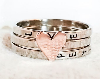 Love Is...Stacking Bands in 14K White and Rose Gold //  Hand Stamped and Personalized