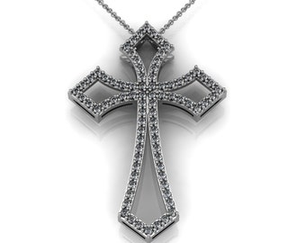Modern Cross Pendant Necklace in 14k Gold accented by 80 small round diamonds 1.20 ct | made to order for you within 5-7 business days