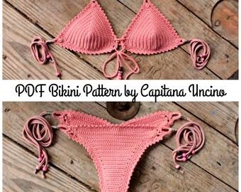 PDF, Crochet PATTERN for Thaleia Crochet Bikini Top and Brazilian Bottom, Cheeky, scrunch butt, Sizes XS-L
