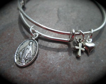 Child Size Mother Mary Miraculous Medal adjustable wire bangle bracelet with cross and heart charms Religious jewelry Christian