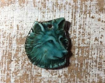 Porcelain Wolf Pendant