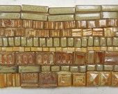 100+ Handmade Mosaic Tile Pieces Ceramic Stoneware  Warm Brown Earth Tones Assortment #3