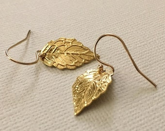 Leaf Earrings in Gold -Gold Leaf Earrings -Fall Earrings in Gold -Autumn Earrings- Leaves