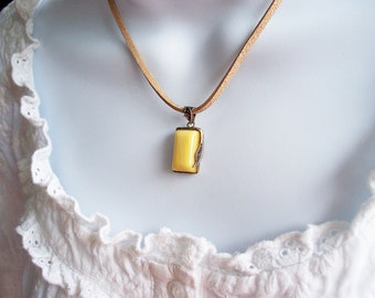 Yellow Stone Necklace Silver Pendant Tan faux Leather Cord Necklace with Silver Clasp