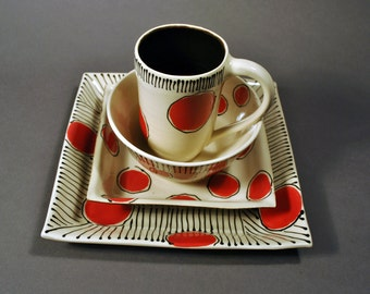 Handmade Dinnerware Set, Ceramic Place Setting