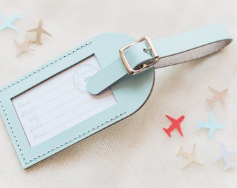 Bulk Listing - Sea Glass Wedding Favors - Fly Away with Me Leather Luggage Tags