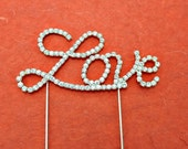 ON SALE 1 Cake Topper Silver Crystal Rhinestone Love Letter Script Wedding Holiday Cake Topper Decorations Supplies