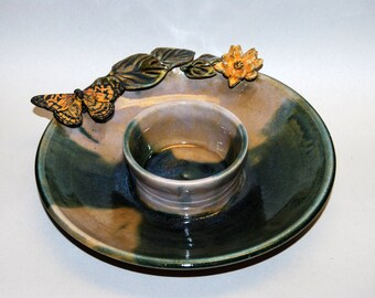 Handmade Stoneware Candleplate with Butterfly motif