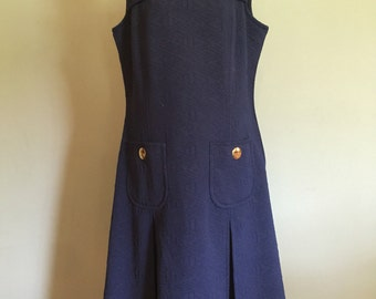 PLUS SIZE 1960's Navy dress, size Large/XL