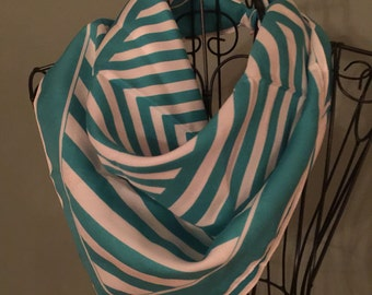 Vintage Scarf, teal and white