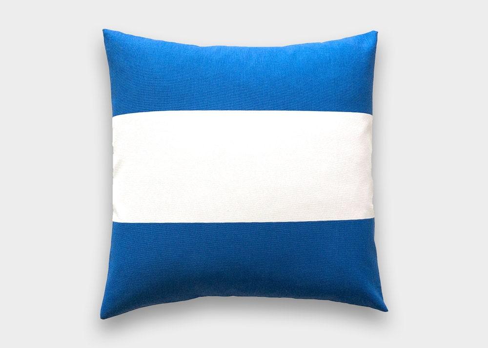 Cobalt Blue Throw Pillow Covers : Cobalt Blue Stripe Throw Pillow Cover. 18X18 Inches. Royal