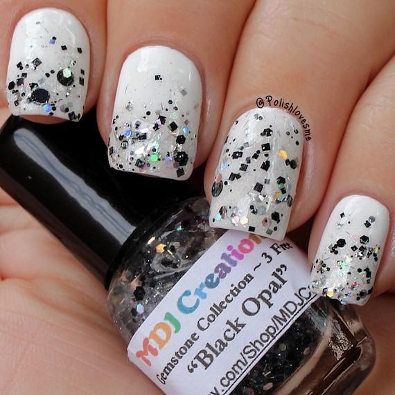 Opal Glitter Nail Polish: MINI SIZE Black Opal By MDJ Creations Holographic Glitter