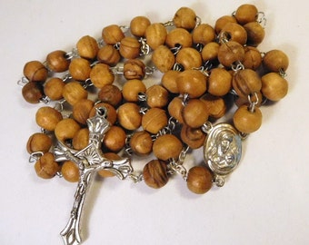 Vintage Wood ROSARY - Terra JERUSALEM - Holy Mother - Crucifix - Olive Wood - Catholic - Religious Jewelry
