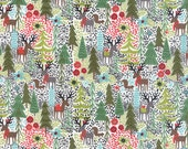 Holiday Reindeer and Forest Fabric in White - Juniper Berry by Basicgrey from Moda - 1/2 Yard