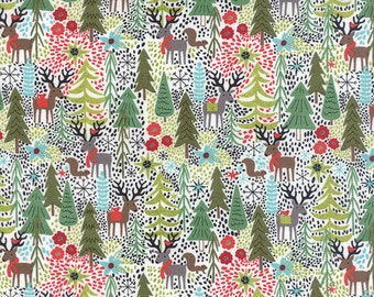Holiday Reindeer and Forest Fabric in White - Juniper Berry by Basicgrey from Moda - 1 Yard