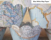 Map Cupcake Wraps, Cupcake Wrappers, For Your Vintage Themed Wedding, Travel Theme, Destination Wedding, Map Decor