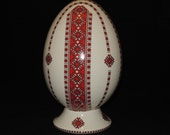 Ceramic Egg Pysanka Bank Red Ukrainian Folk Art