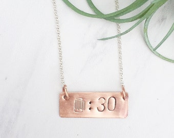 Beer Necklace | Beer Thirty | Handstamped Necklace | Handstamped Jewelry | Copper Jewelry