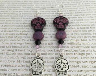Sugar Skull Earrings - OOAK - Made With Swarovski And Czech Crystals In Pink and Black With Two Sugar Skull Beads Day of the Dead Skulls