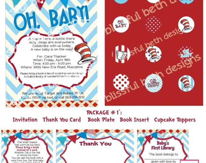 Dr. Seuss  Baby Shower Invitation Package