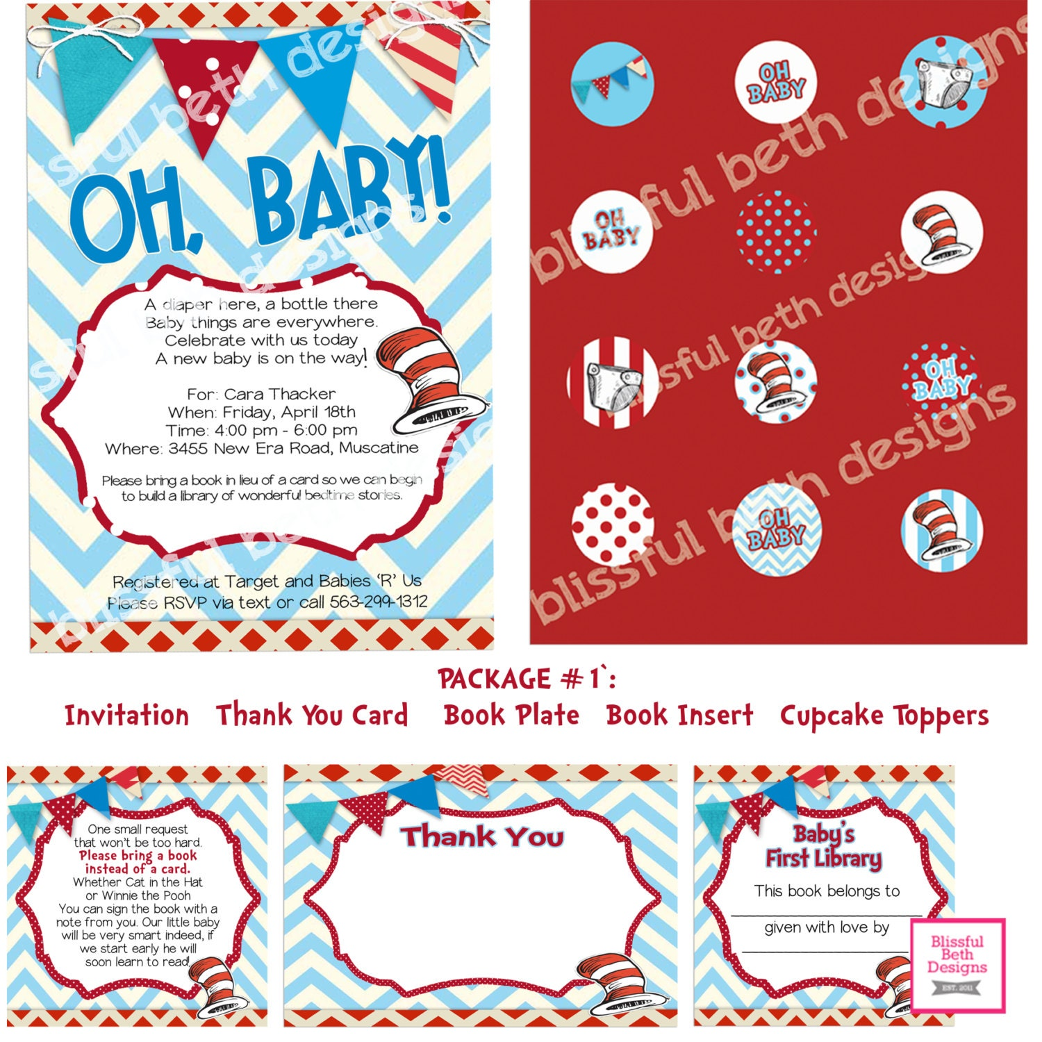 dr seuss baby shower invitation package