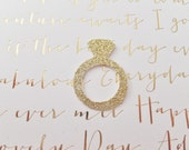 Wedding Engagement Confetti ~ 50 Gold Diamond Rings ~ Bridal Shower ~ Table Decor ~ Invitations