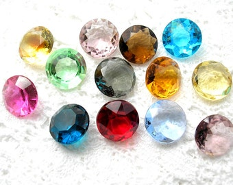 Collection of 15mm Round Glass Jewels Assorted Glass Gems 60ss