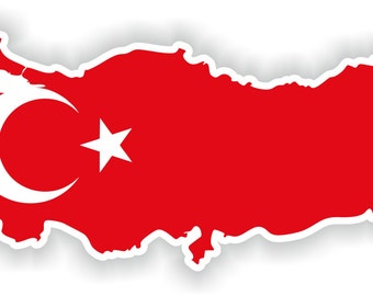 Turkey Map Flag Silhouette Sticker for Laptop Book Fridge Guitar Motorcycle Helmet ToolBox Door PC Boat