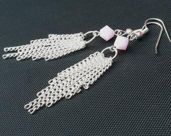 Boho tassel earrings, beaded tassel earrings, boho silver earrings, silver tassel earrings, boho jewelry, earrings for women earrings online
