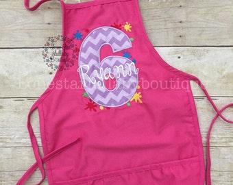 Paint Party Birthday Apron or Shirt - boy apron, girl apron, custom apron