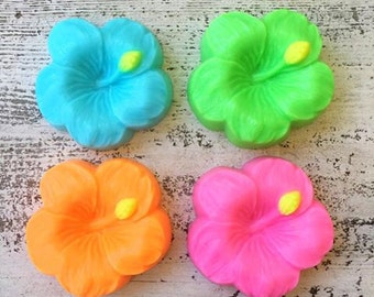 10 HIBISCUS SOAPS {Favors} - Spring Soap Favor, Birthday Party Favor, Wedding Favor, Luau Favor, Beach Party
