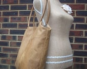 Recycled leather bag - Toffee Tan leather handbag, large, roomy with internal small pouch connected via keyrings.