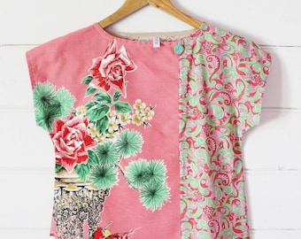 Upcycled Womens Shirt Top Blouse Petite Vintage Linen Tea Towel Spring Floral Pink Green Retro Cotton Patchwork X Small