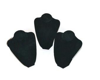 Set of THREE Black Velvet Jewelry Display Stands Discount Jewelry Displays Necklace Display Jewelry Storage