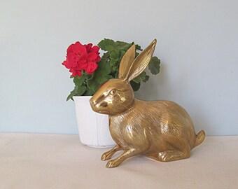 Vintage Brass Bunny Rabbit Large Scale Life Size Figurine Easter Bunny Woodland Animal Mid Century Home Decor Rabbit Figurine Brass Animal
