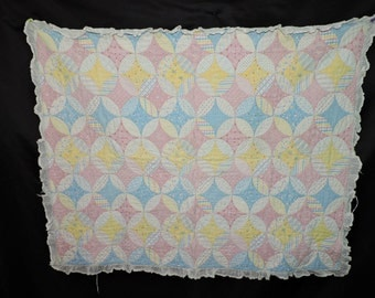 Vintage 1950s Crib Quilt Pink Yellow Blue Star Circle Cat Dog Bunny Horse Handmade Baby Blanket