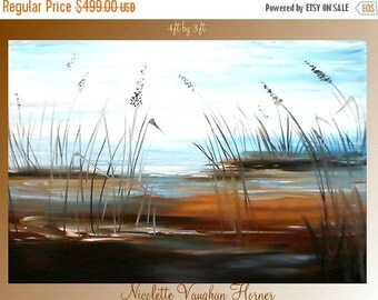 HUGE Original  4ft by 3ft  oil/acrylic abstract   by Nicolette Vaughan Horner