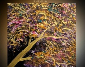 ORIGINAL Oil  painting on gallery canvas-Contemporary abstract  Tree Of Life  painting by Nicolette Vaughan Horner