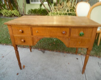 ON THE FARM / Handmade Planked Solid Wood Farmhouse Desk / 5 Drawer