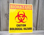 Industrial Metal Biohazard Sign Wall Hanging - Retro Vintage All ORIGINAL UNUSED - Warning Caution Biological Hazard - Art