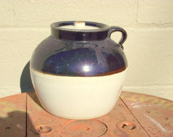 RARE 2 GALLON Bean Pot Robinson Ransbottom Blue Crown Antique Single Handle BEAN Pot with Cover Lid