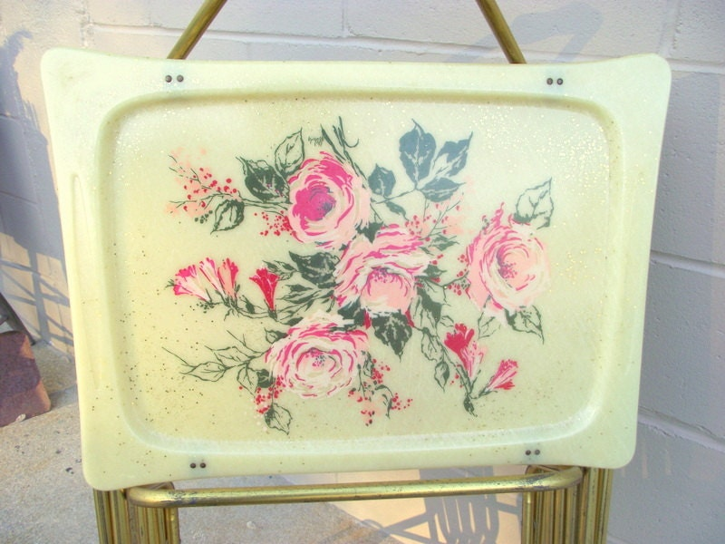 4 Mid Century Roses Tv Tray Tables Set Fiberglass Lavada Roses