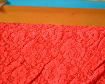 Red Stretch Lace Fabric
