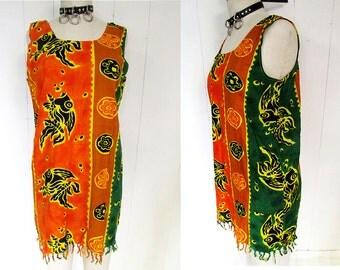 Tropical Fringe Lightweight Abstract Orange Green Tribal Print Beach Dress