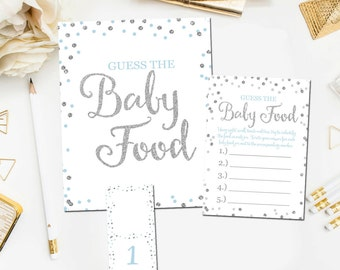 Baby Shower Guess The Baby Food Game, Printable Baby Shower Games, Guess The Baby Food Game, Blue Silver Boy Shower, Instant Download  BB9