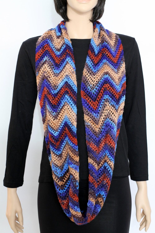 colorful chevron infinity scarf cowl pdf pattern crochet