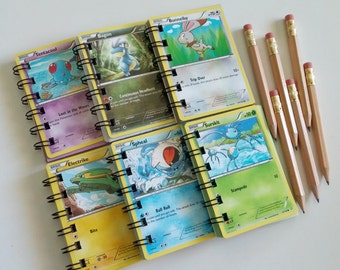 pokemon inspired mini notebook party favors spiral up cycled cards 6 pack mini pencil