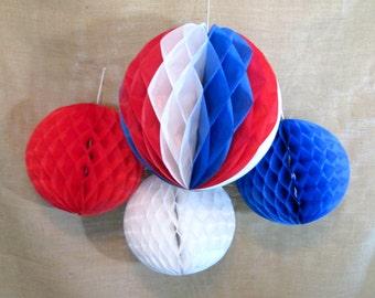 4th of July Decoration Tissue Ball 1 Tissue Paper Pom Pom Honeycomb Balls Memorial Day Decoration Pom Pom Hanging Pom Poms Table Backdrop