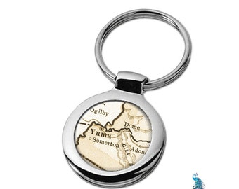 Map Keychain Yuma Arizona Key Ring Fob